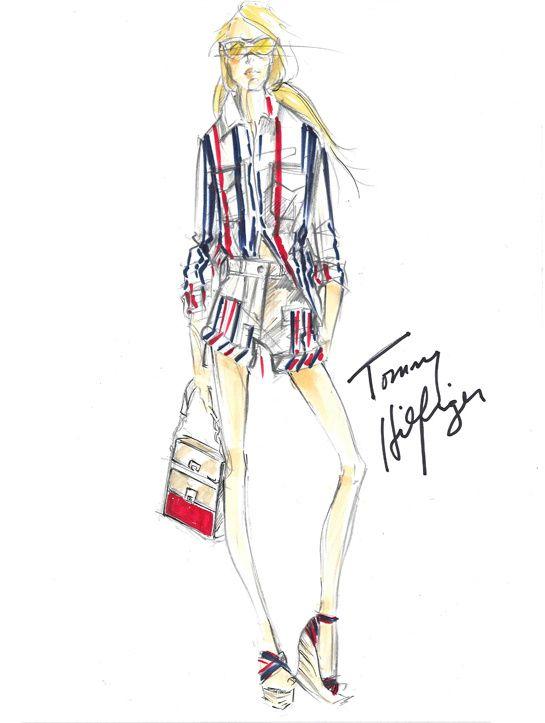 Croquis de Tommy Hilfiger pour sa collection printemps-été 2013 http://www.vogue.fr/mode/inspirations/diaporama/traits-de-genies-croquis-de-createurs-mode/12687/image/744325#!croquis-de-tommy-hilfiger-pour-sa-collection-printemps-ete-2013