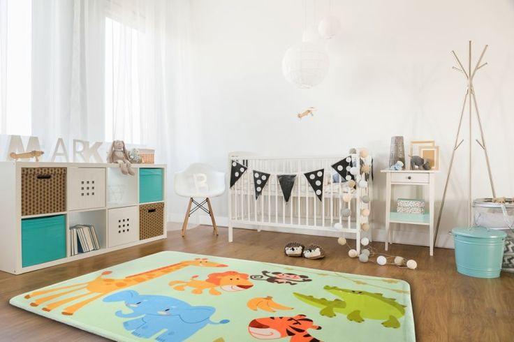 Miętowy dywan dla chłopca i dziewczynki ze zwierzątkami