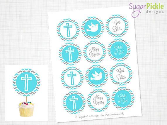 Baptism Cupcake Toppers, Baptism Toppers, Baptism Party Decorations, Blue Chevron, PRINTABLES - 2.25 inch