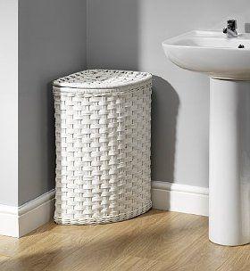 White Rattan Corner Laundry Basket