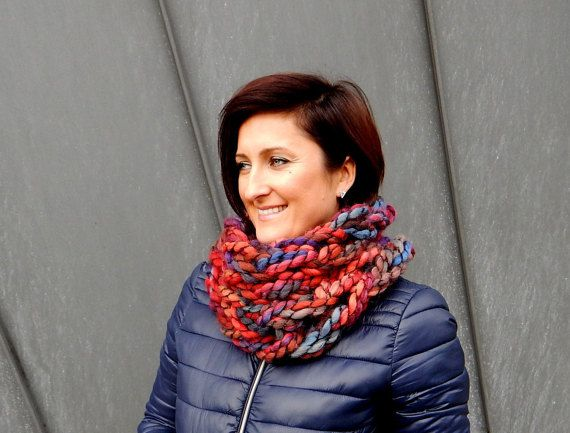 Wool Scarf Infinity  Scarf Chunky Knit Scarf by CreativaStore