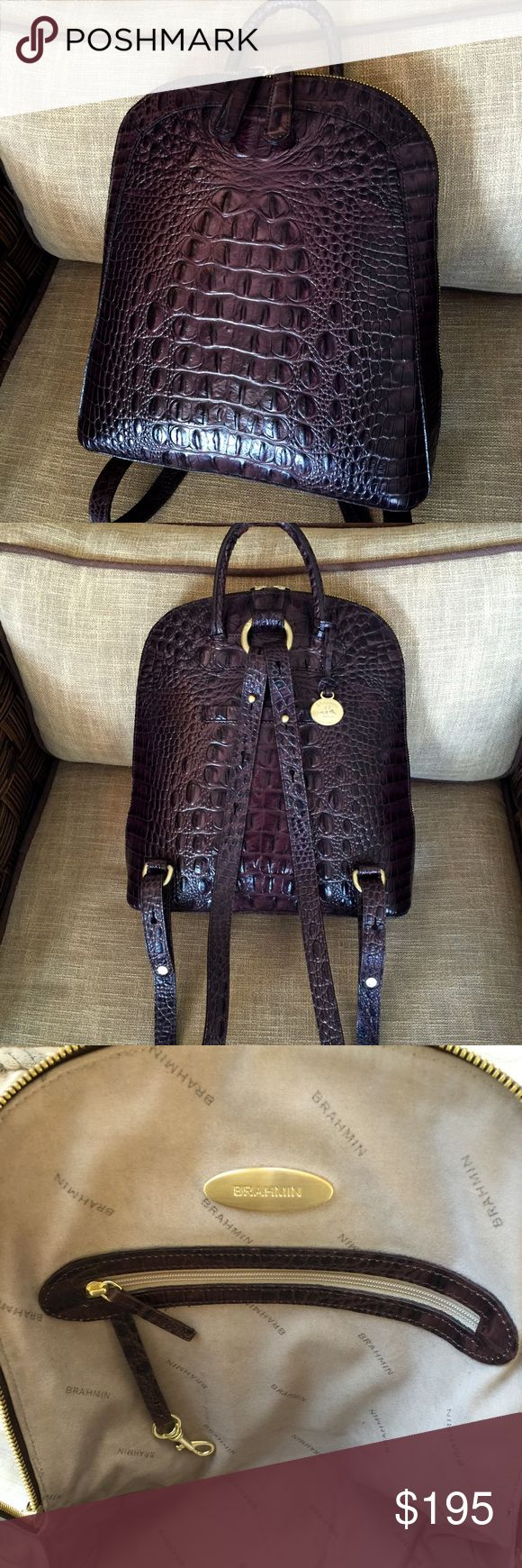 "🌻BRAHMIN🌻TRUFFLE BROWN🌻BACKPACK STYLE BAG🌻 Brahmin Truffle Brown ""ROSEMARY"" Backpack style handbag. Excellent Condition!  The Rosemary is a timeless favorite!Double zippers reveal the chic functionality Brahmin is known for.Just throw over your shoulders and go,the perfect backpack for every lifestyle.  All leather, croc embossed,3.5"" carrying loop or use adjustable straps.Double leather zipper pulls,zips from end to end.Back outer slip pocket.Suede-like lining, w/2 slip pockets and 1…"