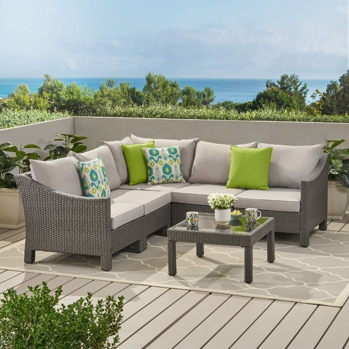 Antibes 6pc Wicker V Shaped Sectional Sofa Set Christopher
