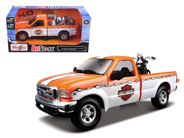1999 Ford F-350 Pickup Truck With Harley Davidson 1/27 with 1936 El Knucklehead Motorcycle 1/24 Orange/White by Maisto - 1999 Ford F-350 Pickup Truck With Harley Davidson 1/27 with 1936 El Knucklehead Motorcycle 1/24 Orange/White by Maisto. Brand new box. Rubber tires. Has opening doors and rear gate. Made of diecast with some plastic parts. Detailed interior and exterior. Dimensions approximately L-8, W-2.5, H-2.25 inches. Please note that manufacturer may change packing box at anytime…