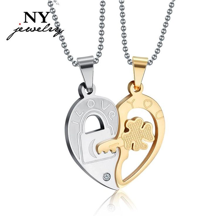 Love Heart Couple Necklace Pendant For Lover Silver Lock & Gold Key Wedding Promise Jewelry Necklaces For Men White Gold Necklace From Yangstore2013, $26.71| Dhgate.Com
