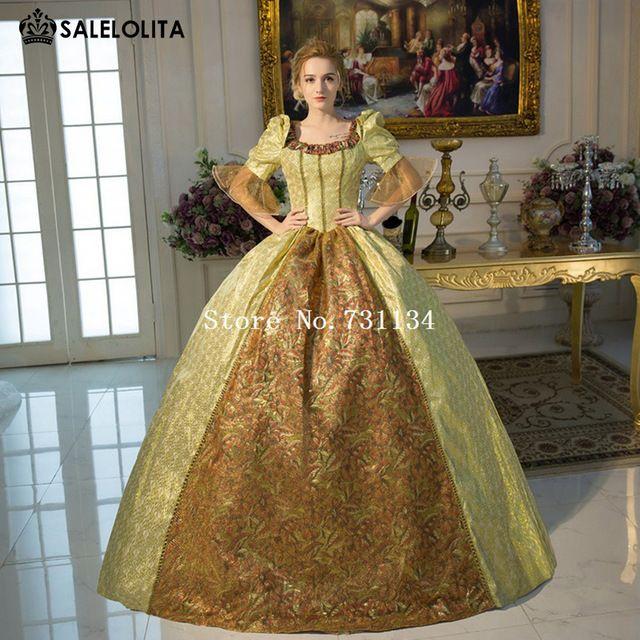 Nuevo Oro de la Llegada Marie Antonieta Barroco Rococó Bata de Pelota Vestidos Renacentistas Del Siglo xviii Período Histórico Vestidos Para Las Mujeres