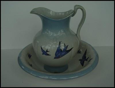 Antique Stoneware Yelloware Bluebird Pitcher Basin Washbowl Salt Glaze | eBay