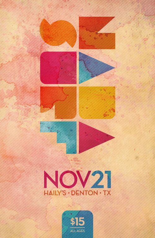 Concert Gig Poster Design - dig the watercolor, mod type