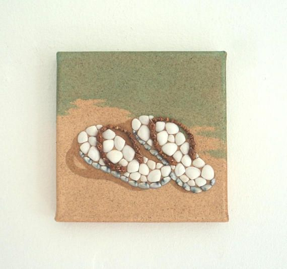 Flipflops in Seashell Mosaic on Sand, Beach Artwork with Seashells and Sand, Art Wall Picture of Flipflops, Mosaic Art, 3D Art Collage, Home Decor, Wall Decor #ArtworkwithSeashells #mosaiccollage #seashellmosaic #homedecor #walldecor #3D