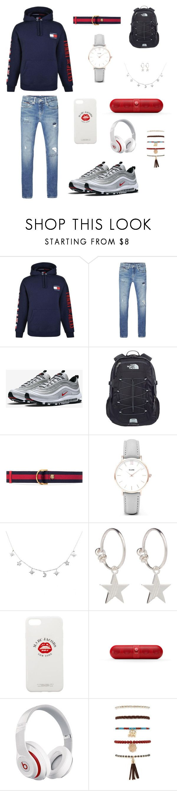 """""""Geen titel #33"""" by manoukh ❤ liked on Polyvore featuring Tommy Hilfiger, NIKE, The North Face, Gucci, CLUSE, Rachel Jackson, Marc Jacobs, Beats by Dr. Dre and Forever 21"""