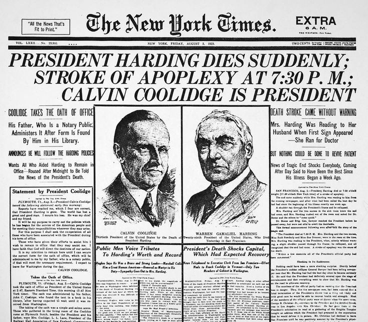 Death of Warren Harding as reported in New York Times August 3, 1923