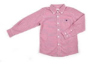 Camisa para niño, con diseño de cuadritos rojos y blancos.