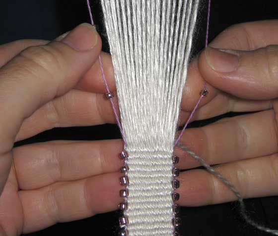 Beading edges during warp-faced weaving.