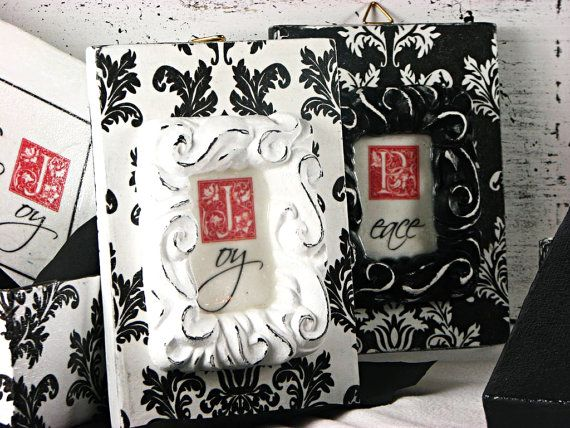 Christmass decor - wall decor - damask - black and white - Peace and Joy  - sign - hand painted - decoupaged - shabby -
