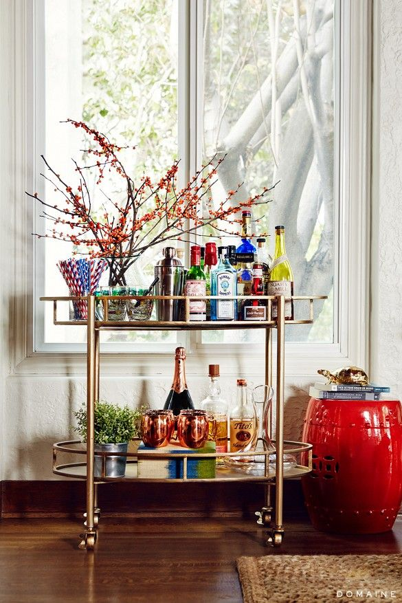 Home Tour: The Eclectic LA Home of a Breaking Bad Star via @domainehome. Love this bar cart!