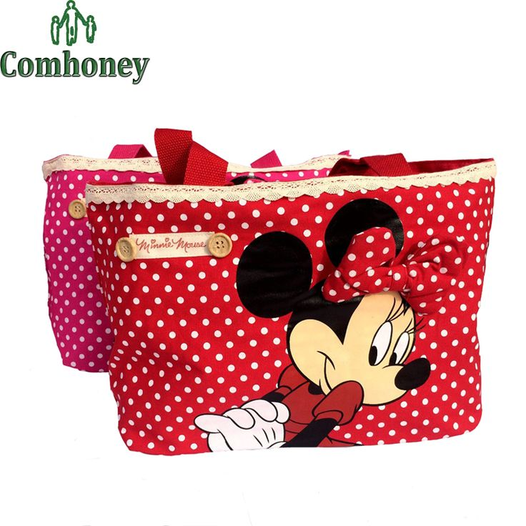 Diaper Bag Minnie Mummy Bag for Baby Care Large Capacity Cotton Shoulder Messenger handbag Baby Nappy Maternity Hobo Bag