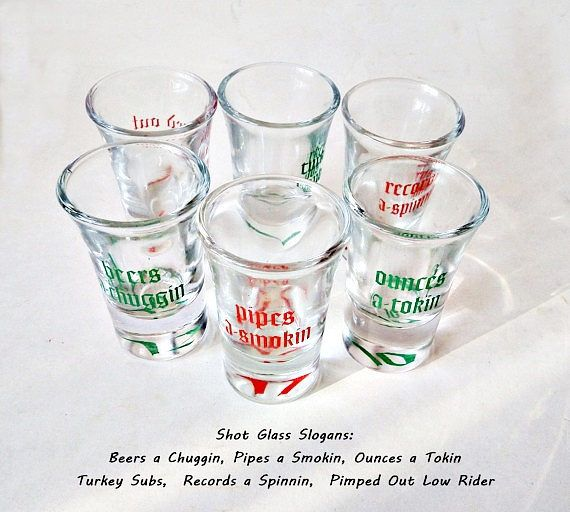 Set of Six Shot Glasses/ Schnapps  Glasses Set of Three Funny Liquor Serving Barware/ Bachelor Party Gift by LaTrouvaille on Etsy
