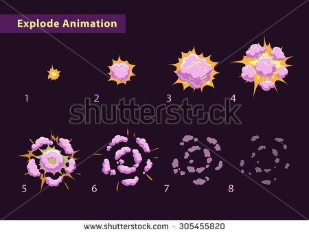 Explode effect animation with smoke. Cartoon explosion frames - stock vector