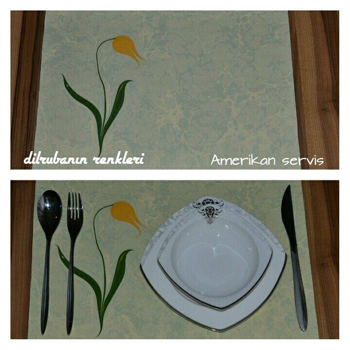Ebrulu 5 amerikan  servis sofra sanati ebru sanati geleneksel sanatlar  lale sarı şık  sunumlar