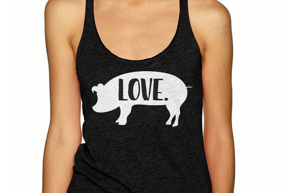 For all the piglovers out there, this racerback tank shirt is for you! Shop my designs on Etsy (use coupon code pinterest10 for 10% off your order). #pigshirt #pig #pigs #piglover #farmgirl #pigtank #pigfarmer #piggift #pasturedpigs