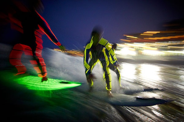 Night surfing with LED boards and Tron wetsuits Bondi Beach » Aquabumps Surf Photography Bondi Beach Surf Report