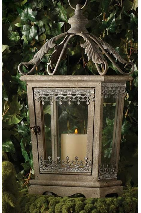 """FRENCH COUNTRY Rustic Metal LANTERN CANDLE HOLDER ~Large 27""""~Gray #Unbranded"""