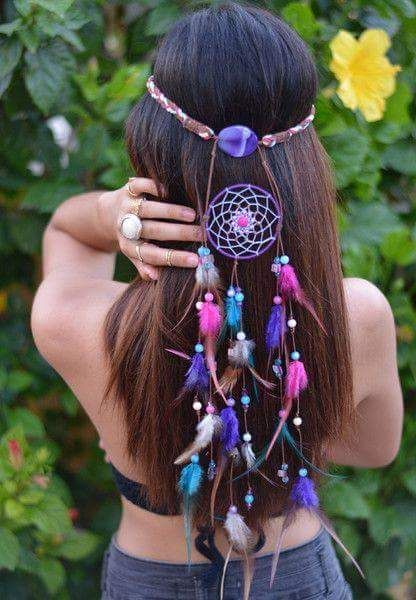 Dreamcatcher Hair Accessory For Crowned Hippie Hair Look