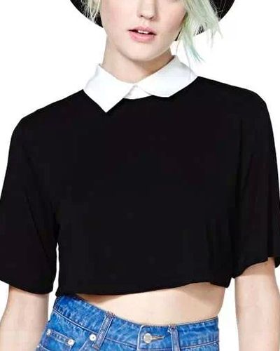 Black Half Sleeve Cropped T Shirt With Contrast Collar TS0150013