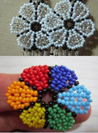 DIY. Videotutorial y patrones de flores con bolitas, para pulseras, anillos, pendientes, collares.