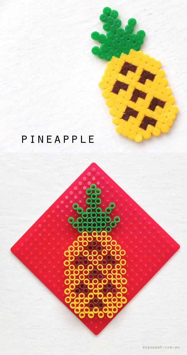 pineapple hama bead pattern crossstitch design mypoppet.com.au spongebob swaps, fruit swaps, food swaps. girl scouts