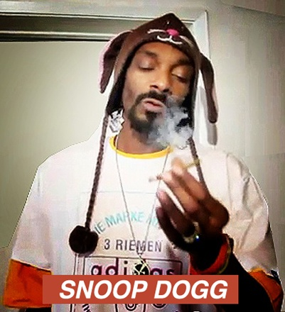 "★ Calvin Cordozar Broadus, Jr. (born October 20, 1971) is an American rapper, singer-songwriter, record producer, and actor, well known by his alter-ego's Snoop Dogg, Snoop Lion, and Snoop Doggy Dogg. Snoop has sold over 30 million albums worldwide. Here he sports Knitwits by deLux ""Beatrix the Bunny Animal Hat"""
