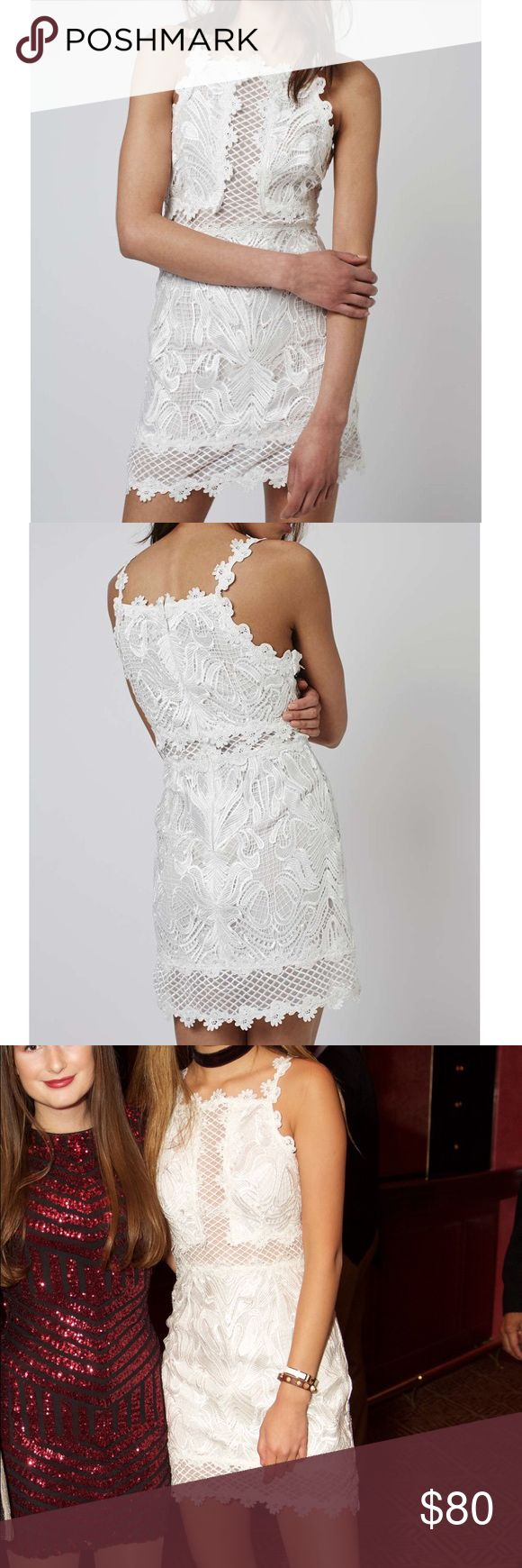 [topshop] white lace detailed bodycon dress Insanely detailed dress by Topshop boutique. Honestly looks so expensive, worn once to a party and got so many compliments. The most beautiful white, lace bodycon dress! You will be sure to stand out in this number…Excellent condition, like new. Add a touch of elegance to your party wardrobe with this beautiful lace bodycon dress. With an intricate all-over shiny lace detail throughout, there is also a cross pattern feature. Style it with a…