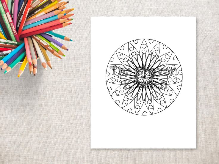 Printable Mandala Colouring Page - Sunflower Hearts by thecrayonkitchen on Etsy