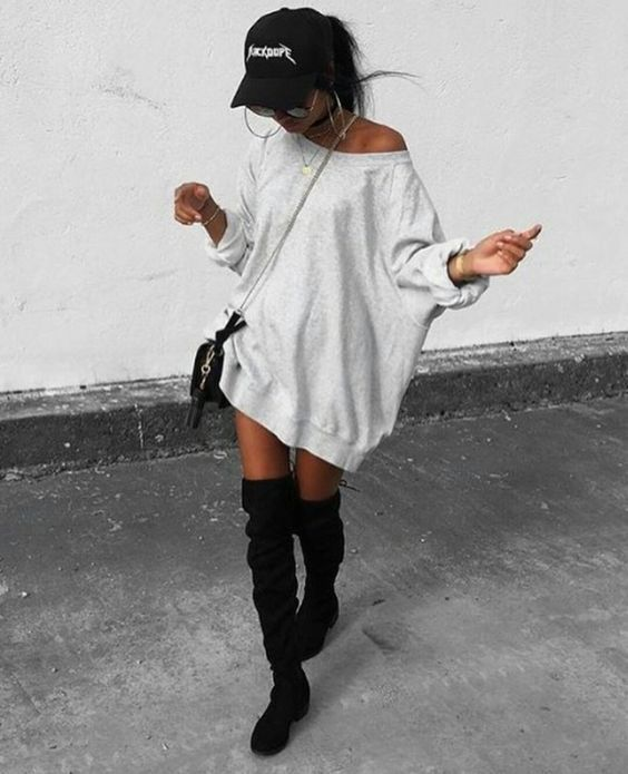 Ad. Black over the knee boots  Cute oversized sweatshirt dress
