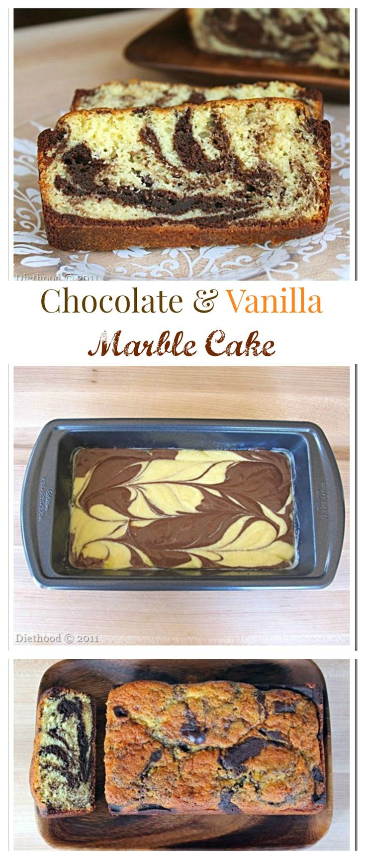 Chocolate and Vanilla Marble Cake - Super moist spongy cake that's a perfect balance between sweet and buttery!