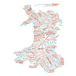 Literary Map of Wales / Map Llenorion Cymru by Geoff Sawers and Bridget Hannigan - £12.00 from the Literary Gift Company