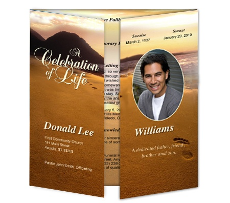 Gatefold Funeral Programs: Footprints In The Sand Gatefold Templates