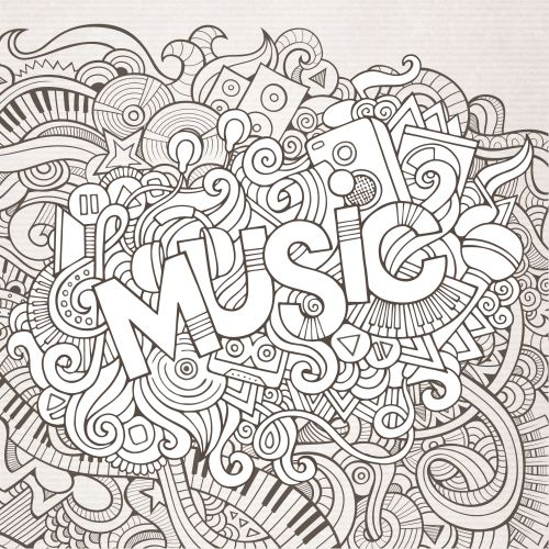 music black and white doodle colouring incoloring booksblack