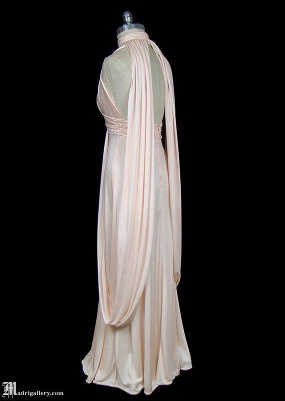 Halston déesse grecque drapé Robe maxi de jersey par TheFrockDotCom