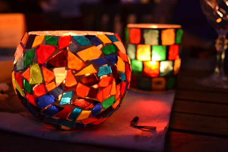mulitcoloured & mosaic candles for pretty lighting indoors/outdoors