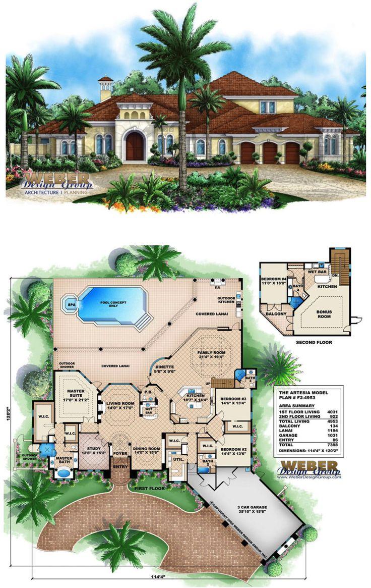 Mediterranean House Plan 2 Floor Mediterranean Home Floor Plan House Plans Mediterranean House Plans Luxury House Plans