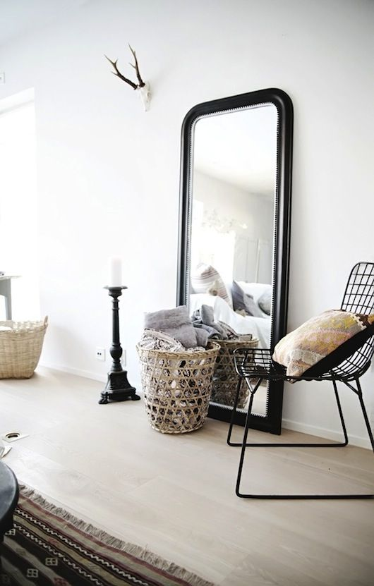 Hack an IKEA Songe mirror to look like this.