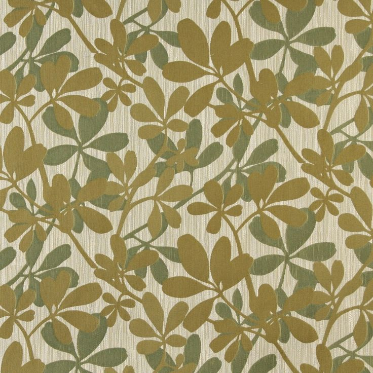 Green, Abstract Leaves Contemporary Upholstery Fabric By The Yard