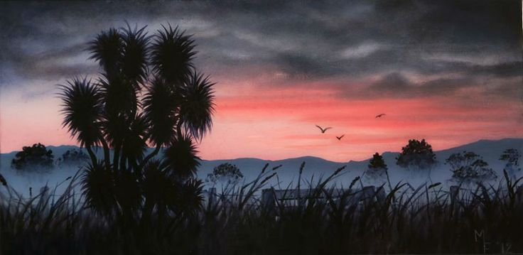 Day's End  Oil on canvas with resin finish.  50cm x 25cm SOLD