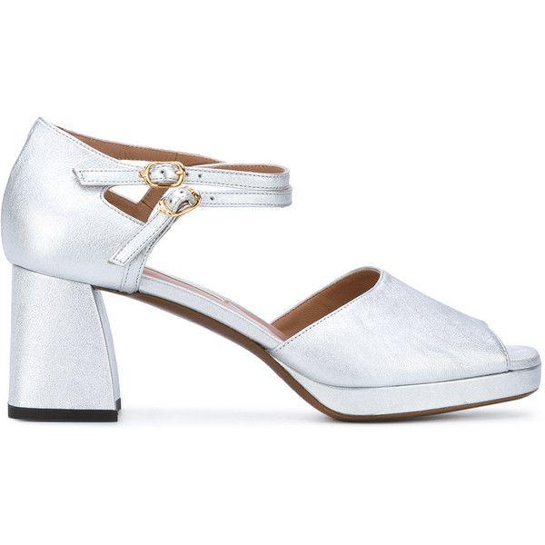 L'Autre Chose d'orsay court platform sandals (€205) ❤ liked on Polyvore featuring shoes, sandals, grey, grey sandals, gray sandals, leather ankle strap sandals, ankle wrap sandals and block heel sandals