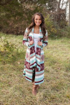 Pink Lily Boutique Tribal Sweater | The Pink Lily Boutique - Mocha and Mint Tribal Cardigan, $55.00 (http ...