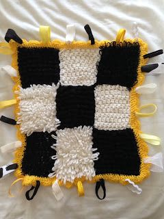 Crafty Knick Knacks High contrast crochet Taggie blanket