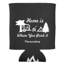 Home Is Where You Park It | Camping (dark colors) Can Cooler  #koozies #cancoolers
