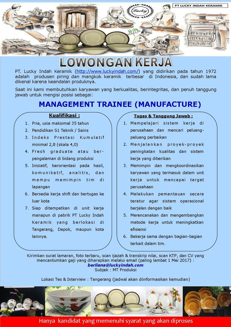 JOIN!  Management Trainee (Manufacture) from Lucky Indah Keramik for S1 >> http://bit.ly/2p7P2tc   DEADLINE: 1 May 2017 #itbcc #karirITB #ITBcareer