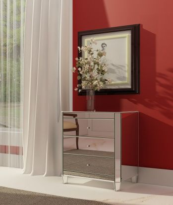 3 drawer, corner-cut, plain mirrored chest